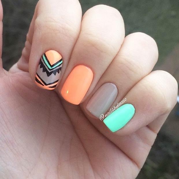 Orange, Nude & Turquoise Nail Design