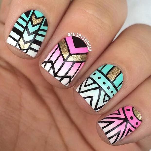 Instagram / nailsbysophiaa - 19 Tribal Inspired Nail Art Designs StayGlam