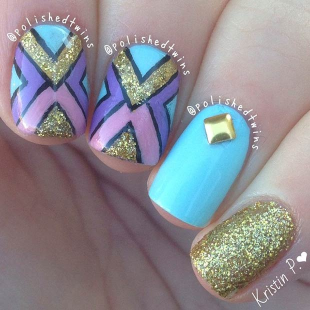 Turquoise and Gold Tribal Nail Art Design