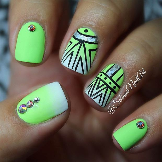 Lime Green Nail Art Design
