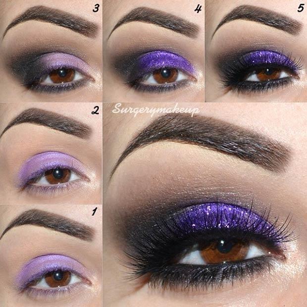 Black and Purple Glitter Eye Makeup Look