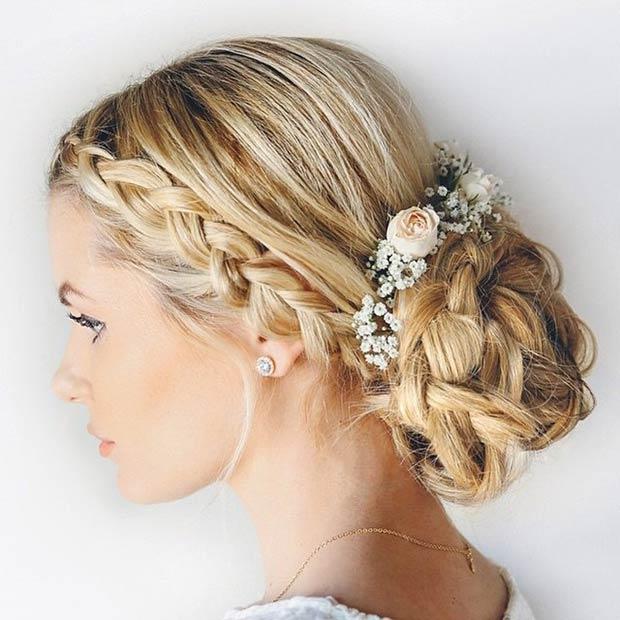 bridal hairstyles low bun with flowers wwwpixsharkcom