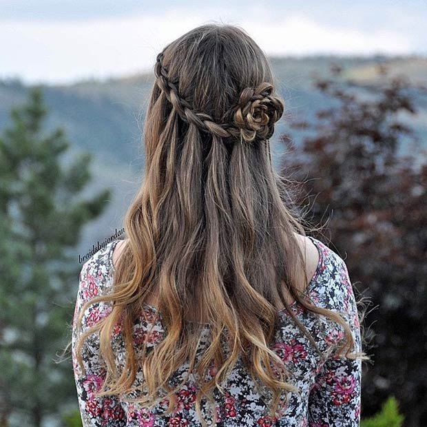 Flower Braid Half Updo
