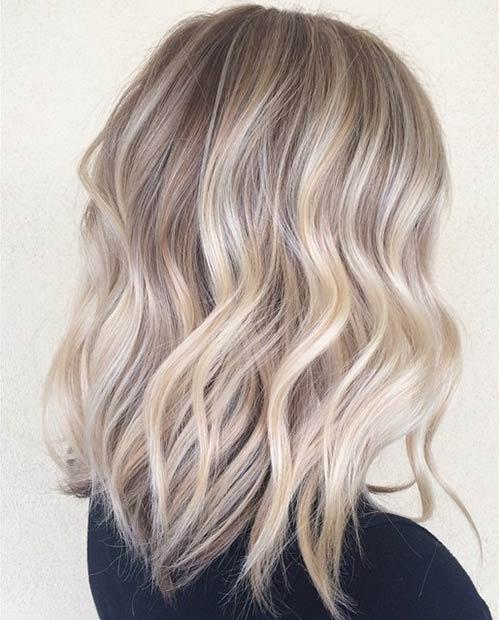 Ash Blonde Sombré Lob Hairstyle