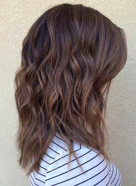 Caramel Lob Hairstyle