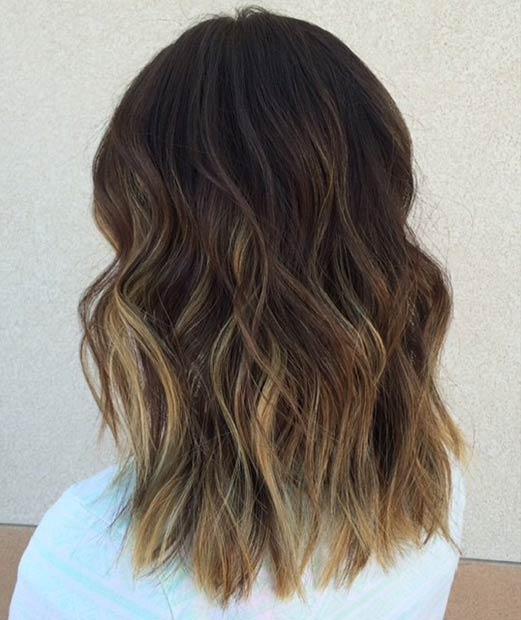 Dark Brown Sombré Lob Hairstyle
