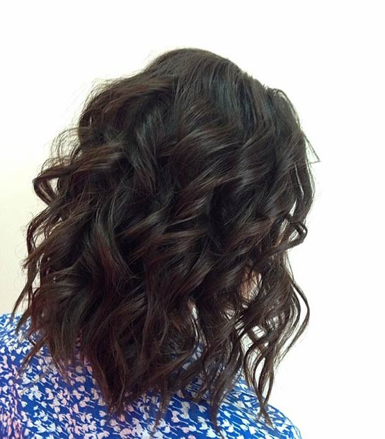 Simple Curly Lob Hairstyle
