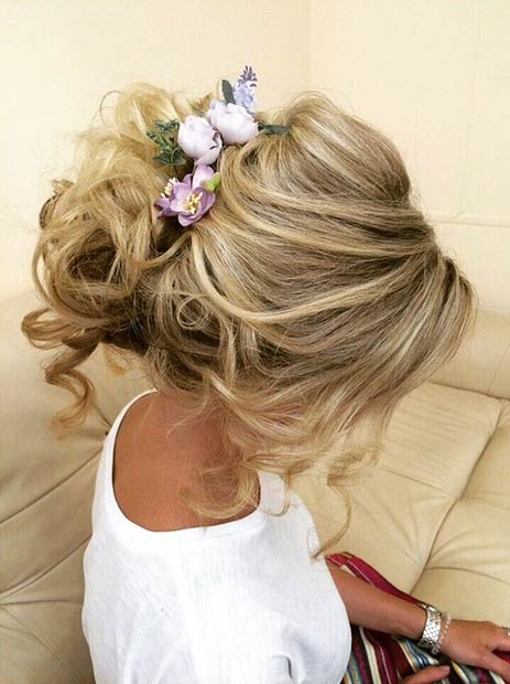 Curly Updo with Flowers