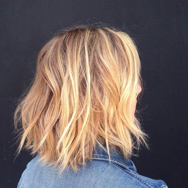 Messy Lob + Blonde Balayage Highlights