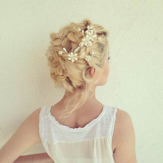 Bridal Braided Updo with Hair Accessory
