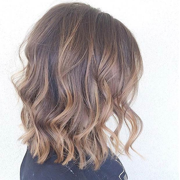 Lob Cut with Caramel Babylights