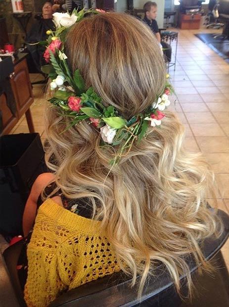 Curls + Flower Wreath