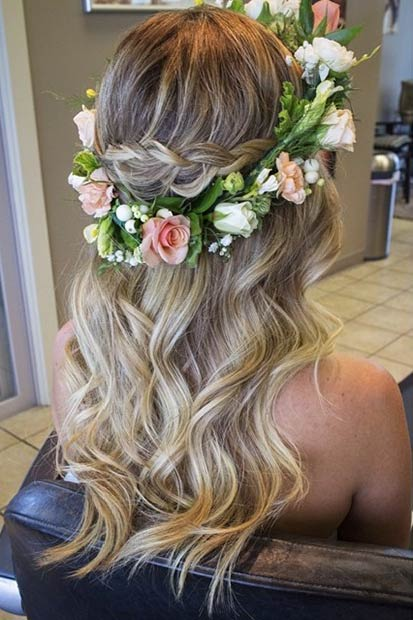 Soft Waves and FlowerCrown Half Updo