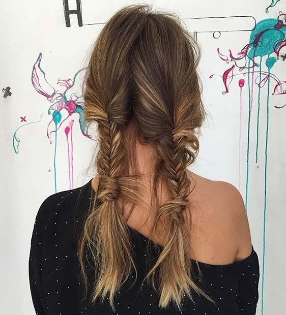 Messy Fishtail Braid Pigtails