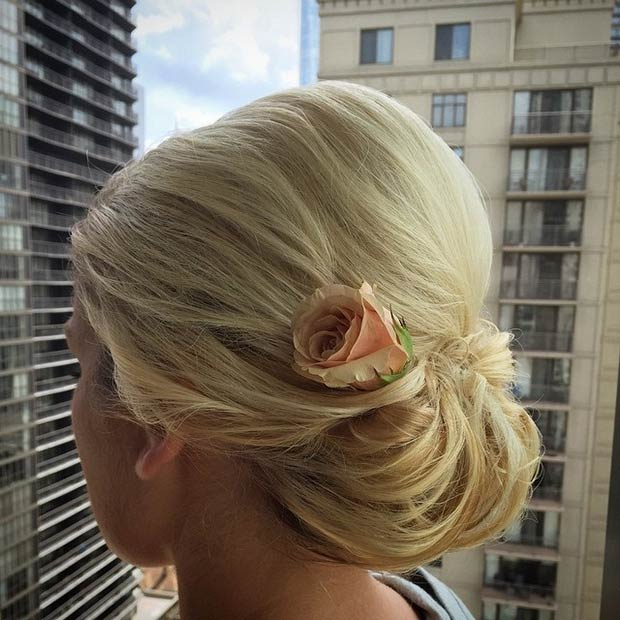 Low Chignon with a Rose
