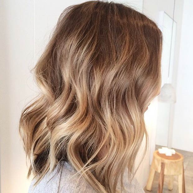 Brown to Blonde Lob Hairstyle