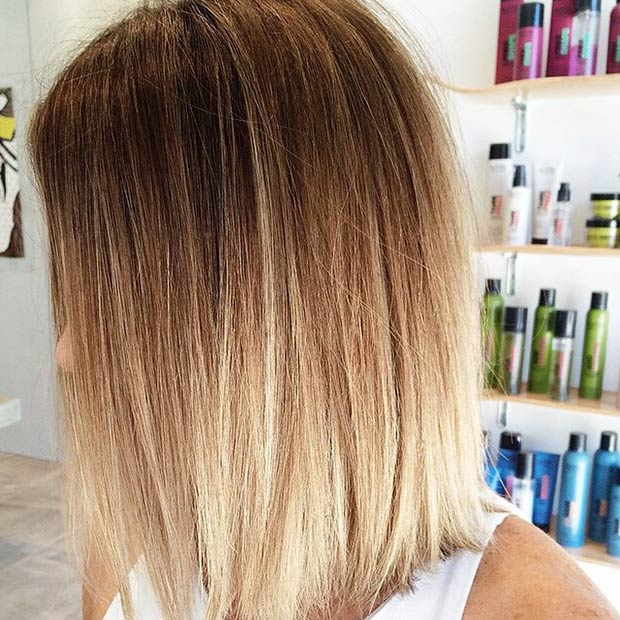 Straight Ombre Lob Hairstyle