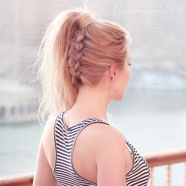 Upside Down Braid Ponytail