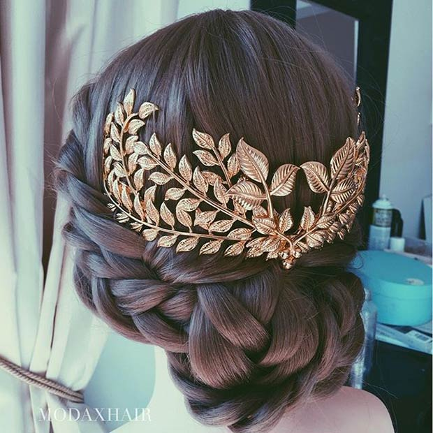 Braided Low Bun with Gold Hair Accessory