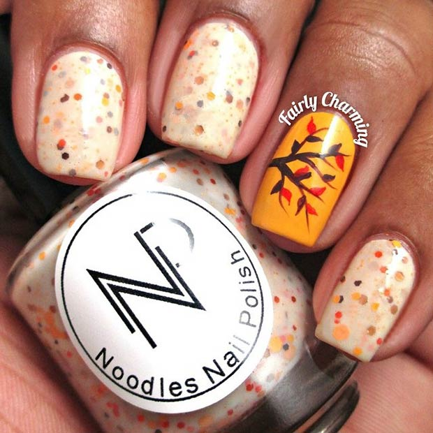 35 cool nail designs to try this fall page 3 of 4 stayglam fall tree accent nail instagram fairlycharming prinsesfo Choice Image