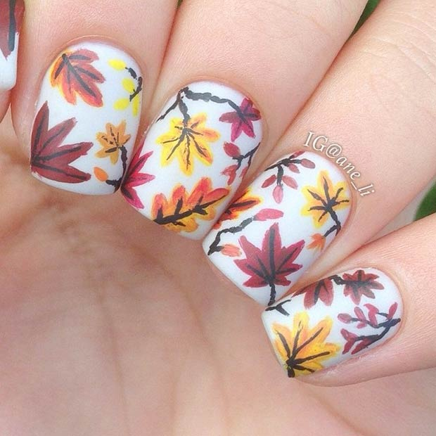 Colorful Leaves Nail Art Design