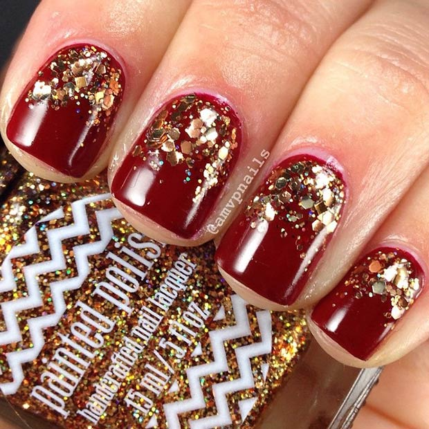Dark Red Nails with Gold Glitter