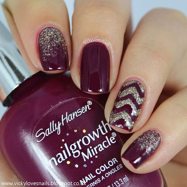 Dark Purple Gold Glitter Nail Art Design