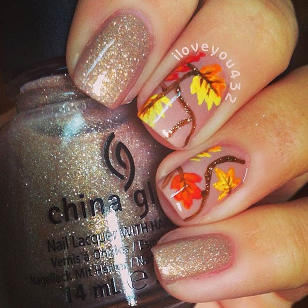 Fall Branches with Glitter