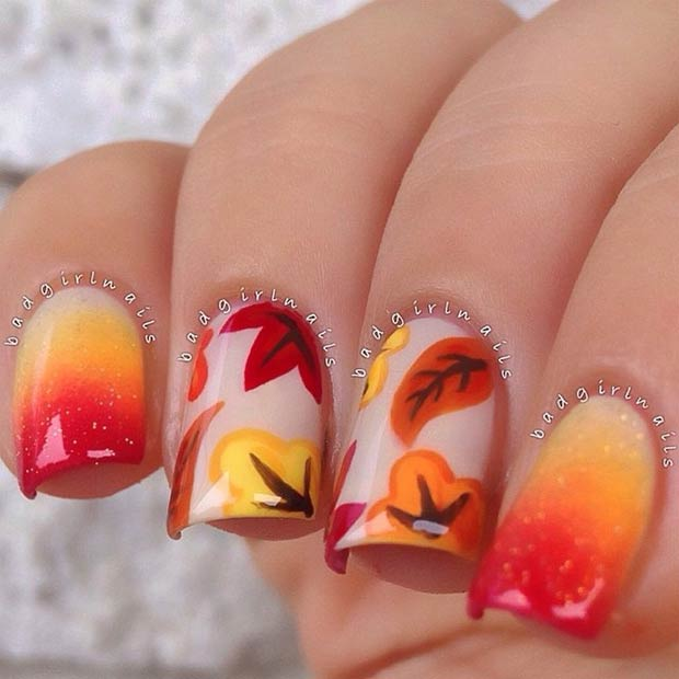 Fall Gradient Nail Design