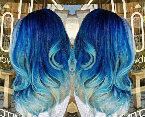 29 blue hair color ideas for daring women page 2 of 3 stayglam dark blue hair light blue and ash blonde tips instagram hollyawford urmus Choice Image