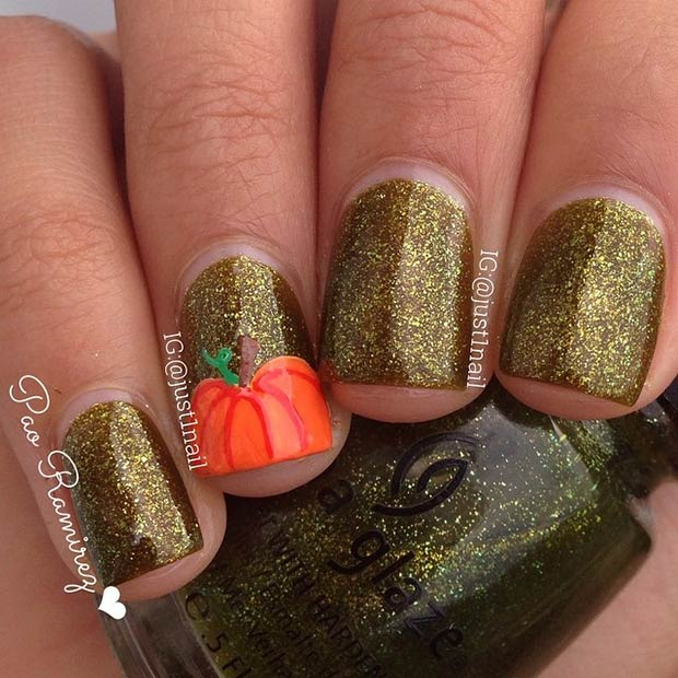 Pumpkin Accent Nail