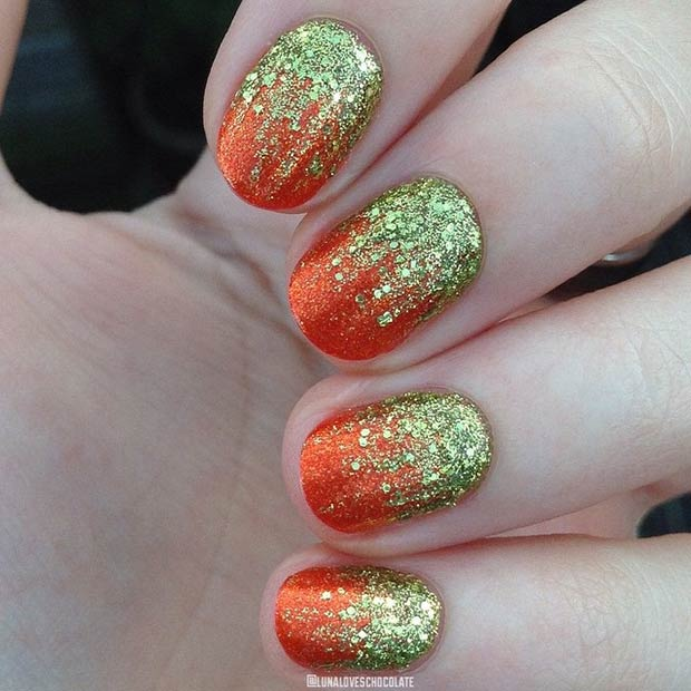 Sparkly Fall Nails