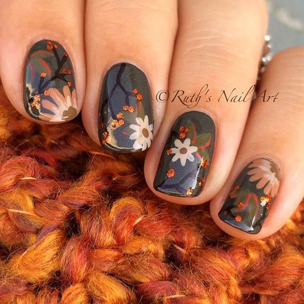 Fall Flowers Nail Art