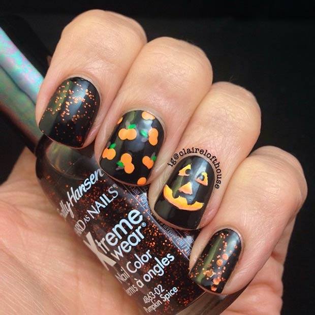 Dorable Jack O Lantern Nail Art Adornment - Nail Paint Design Ideas ...
