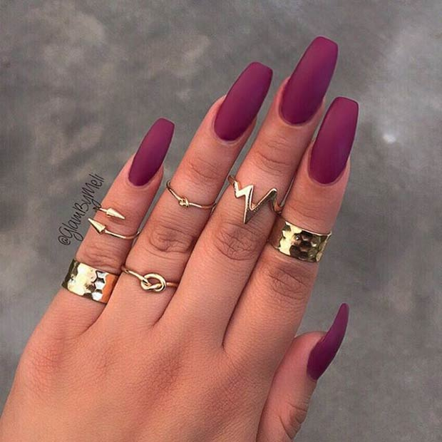 Long, Burgundy Matte Nails. Instagram / GlamByMeli - 25 Matte Nail Designs You'll Want To Copy This Fall StayGlam