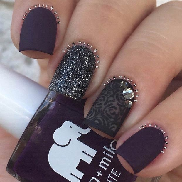 25 matte nail designs youll want to copy this fall page 2 of 2 black dark purple matte nails instagram badgirlnails prinsesfo Image collections