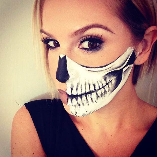 Skull With Jaw Dropped: 29 Jaw-Dropping Halloween Makeup Ideas