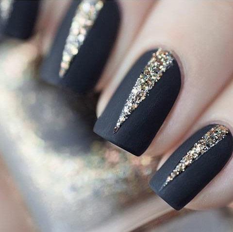 Black Matte Gold Glitter Nails Source Wehear