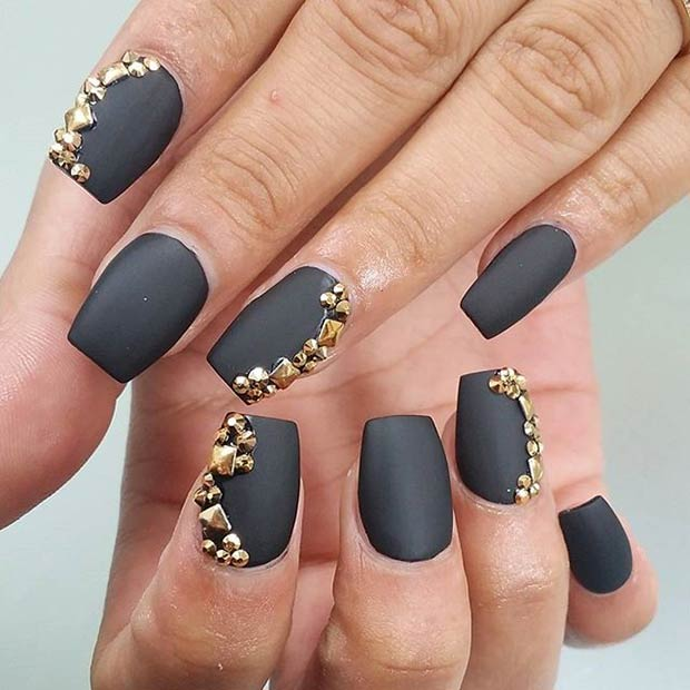 25 matte nail designs youll want to copy this fall page 2 of 2 black matte nails gold studs instagram lettysnails prinsesfo Image collections