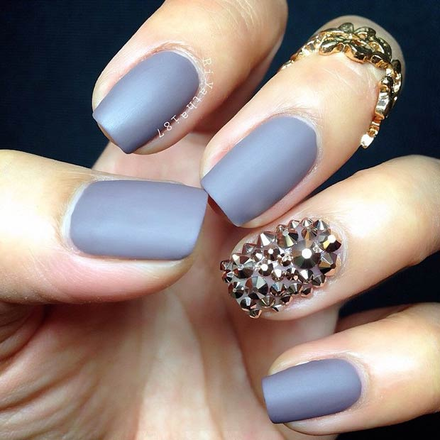 Grey Matte Nails. Instagram / riyathai87 - 25 Matte Nail Designs You'll Want To Copy This Fall StayGlam