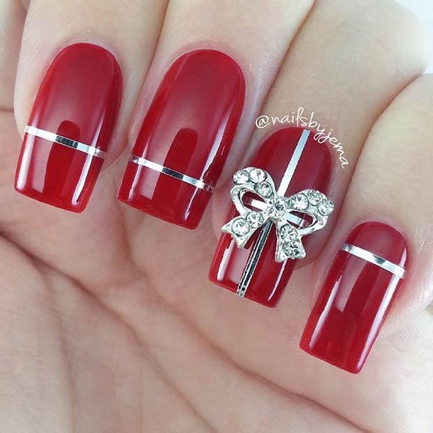 Christmas Gift Nails. Instagram / nailsbyjema - 31 Christmas Nail Art Design Ideas StayGlam