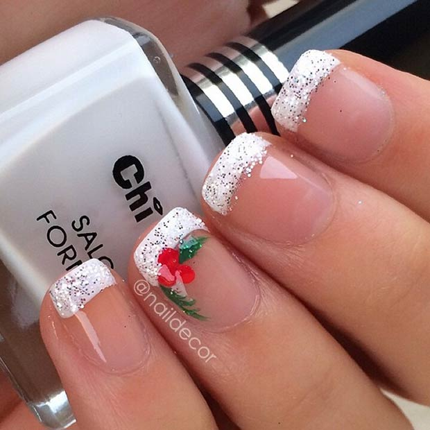 Festive French Manicure - 51 Christmas Nail Art Designs & Ideas For 2018 StayGlam