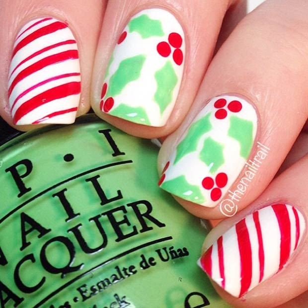 Holly and Candy Cane Nails