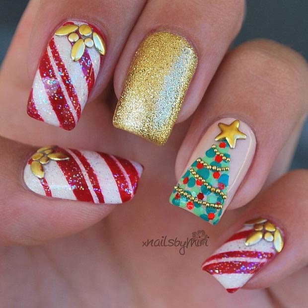 Candy Cane and Christmas Tree Nail Art Design