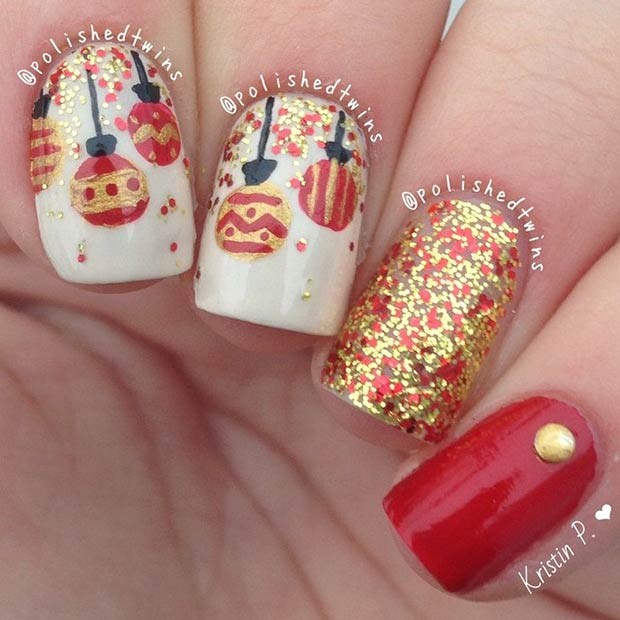Christmas Baubles Nail Art Design