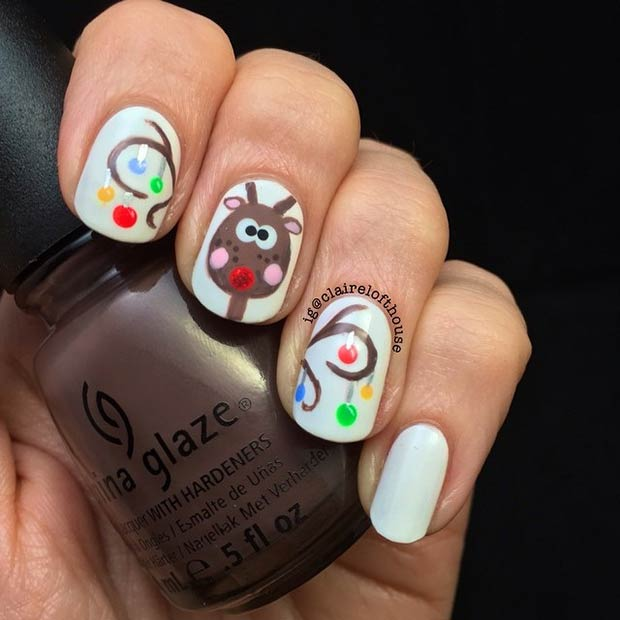 Cute Reindeer Nail Art Design