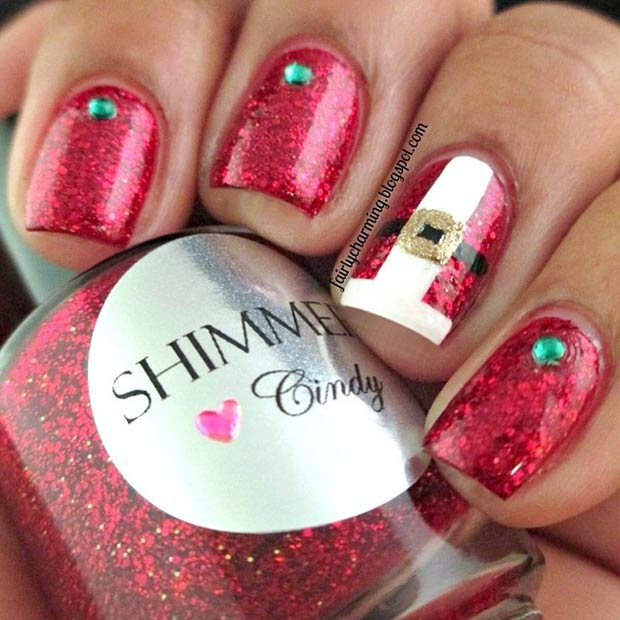 Santa Claus Suit Accent Nail