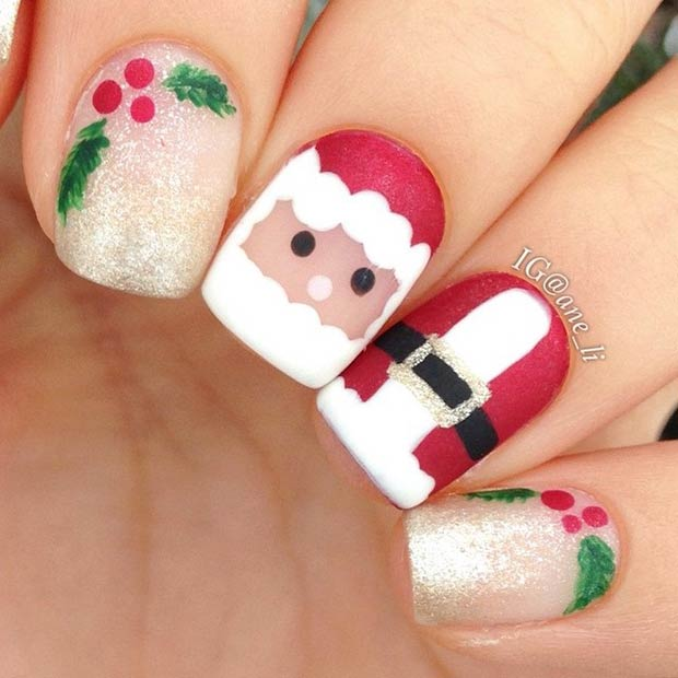 Cute Santa Claus Nails - 51 Christmas Nail Art Designs & Ideas For 2018 StayGlam