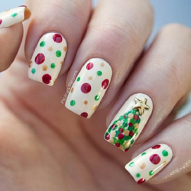 Polka Dots and Christmas Tree Nails
