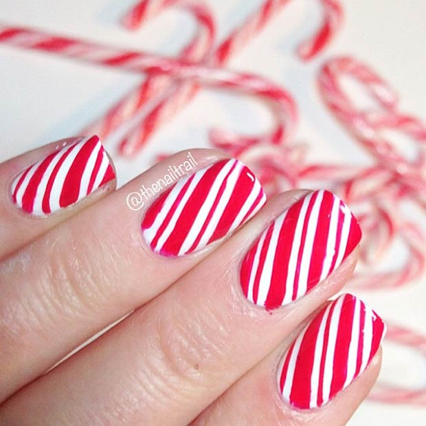 31 christmas nail art design ideas stayglam candy cane nails instagram thenailtrail prinsesfo Image collections